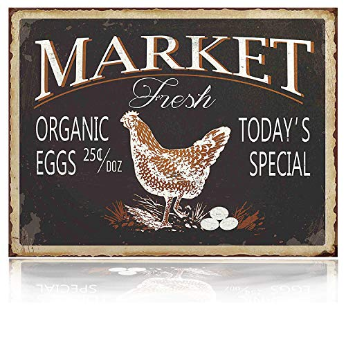 MMOUNT Market Fresh Eggs Sign Vintage Bar Sign Country Kitchen Wall Decor 8x12Inch