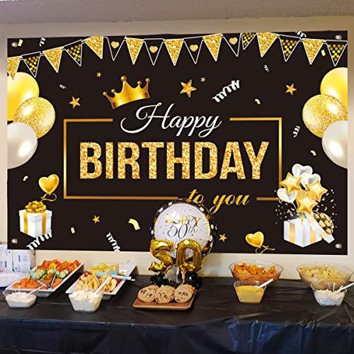 Xiangmall Decoración de Fiesta de Cumpleaños 30 40 50 60 Años Tela Extra Pancarta Feliz Cumpleaños Fiesta de Cumpleaños Telón de Fondo de Celebración