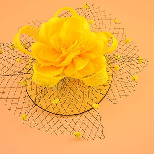 Vintage Bridal Flower Hats Elegant Wedding Accessories Bride Net Hats White Fascinator Hats Women's Formal Occasion (Color : Yellow)