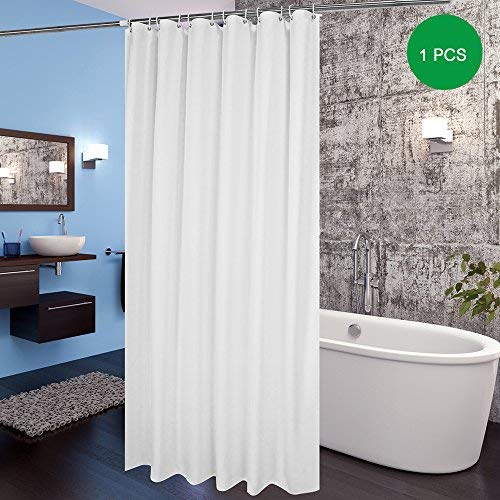 Extra Long Shower Curtains 180 x 210cm drop/72'x 84',Mildew Resistant Bathroom Curtain Shower Water Repellant,White