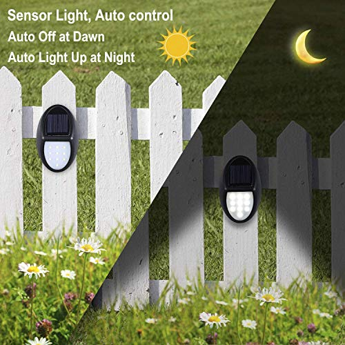 Solar Deck Lights, Solar Light Outdoor 6 LEDs Per Light Waterproof Solar Fence Lights for Outdoor Deck, Patio, Stair, Yard, Path and Driveway Pack of 8