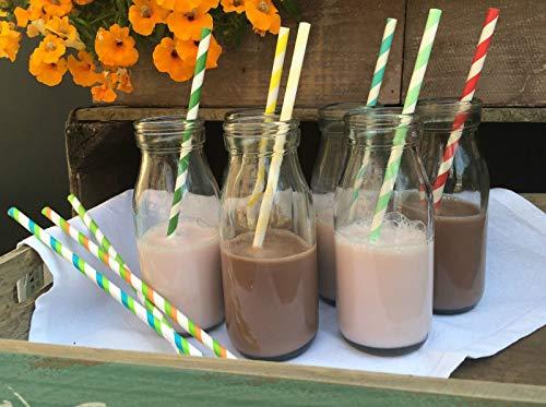 Set of 6 Retro Mini School Milk Glass Bottle Vintage Tea Party Wedding Baby Shower 250milliliter by Homes on Trend