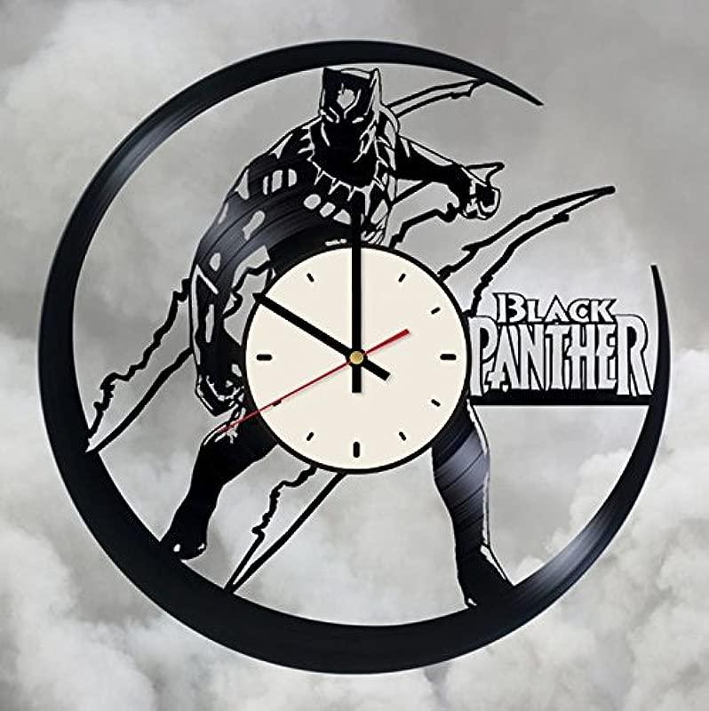 Black Panther Vinyl Wall Clock Superhero Unique Gifts Living Room Home Decor