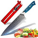 SEIRYUU Cuchillo Japonés de Chef Gyuto de 20cm - Cuchilla de Damasco de 73...