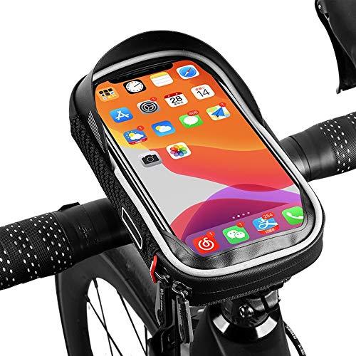 MiOYOOW - Soporte para bicicleta (impermeable, bolsa de manillar de bicicleta, pantalla táctil, parasol giratorio de 360 °, funda para teléfono móvil de menos de 6 pulgadas