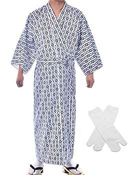 Japanese Casual Kimono Traditional Easy Wearing Cotton Yukata Robe for Men with Belt and tabi Socks 007,L