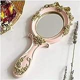 BBNBY Espejo de Aumento con Espejo de Maquillaje Luces 1Pc rectángulo Asimiento de la Mano del Espejo cosmético con la manija del Maquillaje Espejo Lindo Creativo de Madera Maquillaje de la Mano d