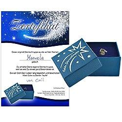 Echte Sternschnuppe in Geschenkbox mit Widmung zur Taufe - Meteorit mit Echtheitszertifikat und Taufzertifikat