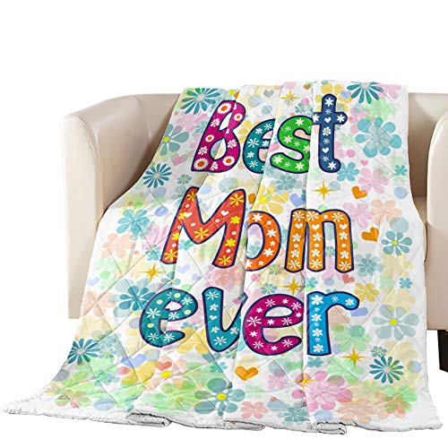 Cool Summer Bedspread Quilt Queen Size Floral, Best Mom Ever Monogram Printed All-Season Comforter Duvet Insert or Stand-Alone Comforter, Comfortable Air Conditioning Bed/Sofa Blanket for Adults Kids