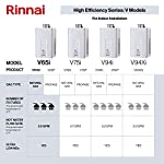 Rinnai Indoor Tankless Hot Water Heater, V65iP, Propane, 6.3 GPM, White 14 V65iP HE High Efficiency Tankless Hot Water Heater - Propane: Indoor Installation Only Up to 6.5 GPM hot water flow rate (varies by groundwater temp) Control-R 2.0 mobile app features timers and schedules throughout the day and allows you to remotely put the system into vacation mode.