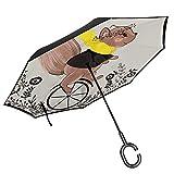 Dliuxf Paraguas de Ardilla Ardillas de Animales Bohemios en Ruedas de Bicicleta con Hoja de Flor Coche Reversa Invertida Paraguas de protección UV a Prueba de Viento -K320