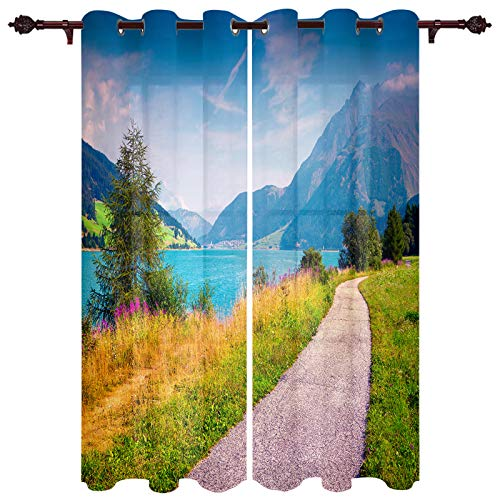 """Fantasy Staring Blackout Curtains for Bedroom- Lakeside Path Countryside Mountain Scenery Thermal Insulated Grommet Window Curtain for Living Room Office, 2 Panels, 52"""" x 63"""""""
