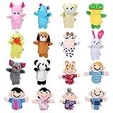Siumir Membri della Famiglia con Animal Burattini a Dito Giocattoli Educativi Marionette da Mano 16 PCS