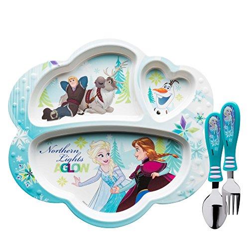Zak Designs Kids Dinnerware Sets, Plate + Flatware, Disney Frozen 3pc