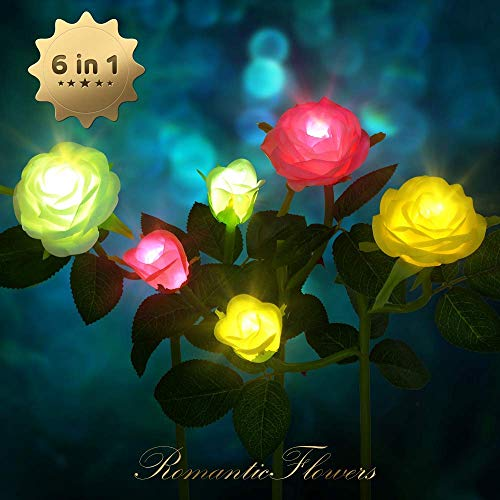 CCJK Outdoor Solar Gardean Stake Lights 3 Pack - Solar Powered Lights with 6 Rose Flowers,LED Waterproof Solar Decorative Lights for Garden, Patio, Backyard (White,Pink&Yellow)