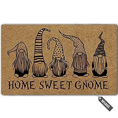 """MsMr Funny Door Mat Home Sweet Gnome Indoor Outdoor Doormat Custom Doormat Entrance Floor Mat Home Office Welcome Mat 30""""x18"""""""