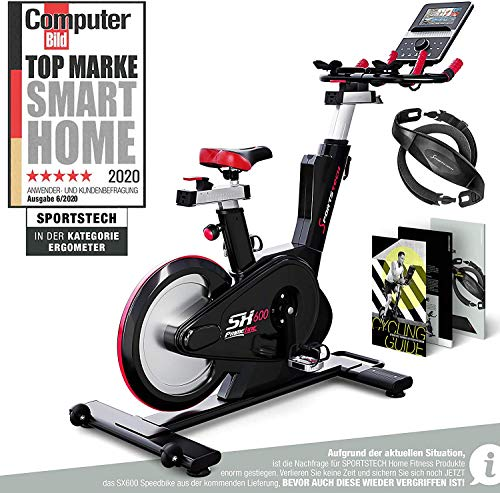 Sportstech SX600 Elite Indoor Cycle Bike mit Smarter Android Konsole, Magnetbremssystem, 2