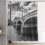 VINISATH Cortinas de Ducha,Big Ben y el Puente de Westminster en Londres, Reino Unido,Cortina de baño Decorativa para baño,bañera 180 x 180 cm