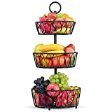 3-Tier Counter Fruit Basket Bowl Storage - Detachable Metal Wire Fruit Bowl Stand for Counters Kitchen Countertop Dining Table | Vegetable Snack Bread Baskets Holder