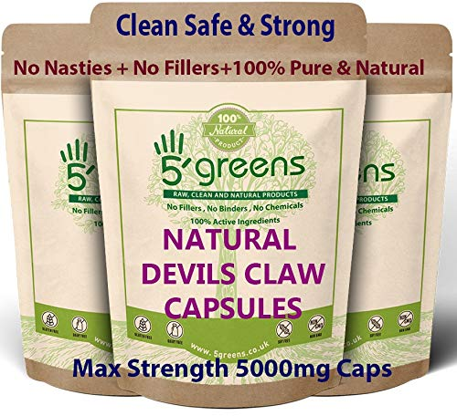 Devils Claw Capsules 10:1 Extract (5000mg Equivalent) | 120 Vegetarian Capsules| 5greens