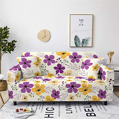 Stretch Sofa Couch Covers Elastic Fabric Purple Flower Pattern Armchair Loveseat Slipcover Settee Universal Cover Durable Furniture Protector From Dogs/Pets/Kids,2,Seat 145,185cm