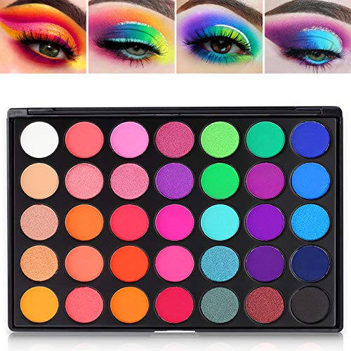 DE'LANCI Lidschatten-Palette Make-up,Eyeshadow Palette 35 Colors, Langlebiges Hochpigmentiertes Matte Schimmer Glitter Lidschatten-Kosmetik Set,Bunt Rot Blau Grün Gelb Lila Rainbow Augen Palettes