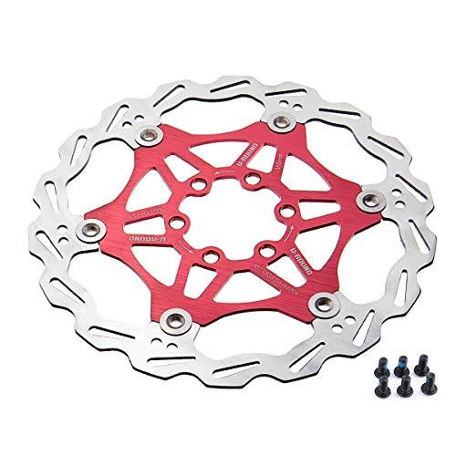 N\A Stainless Ultra Light 6pcs T25 Screws Floating Disc MTB Bike Brake Rator 180 / 160MM (Color : Red, Size : 180mm)