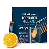 DripDrop ORS - Patented Electrolyte Powder For Dehydration Relief Fast - For Workout, Sweating, Heat, & Travel Recovery - Orange - 32 x 8oz Servings