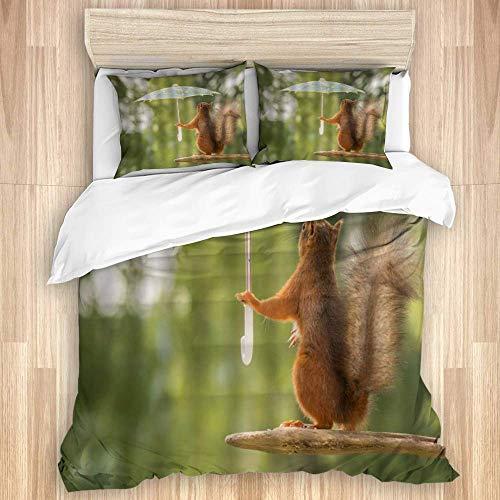 Housse de couette, écureuil mignon écureuil animal drôle tenant un parasol à la scène de la nature humour de tas de bois, ensemble de literie en microfibre de qualité Ultra douceur Design moderne et c