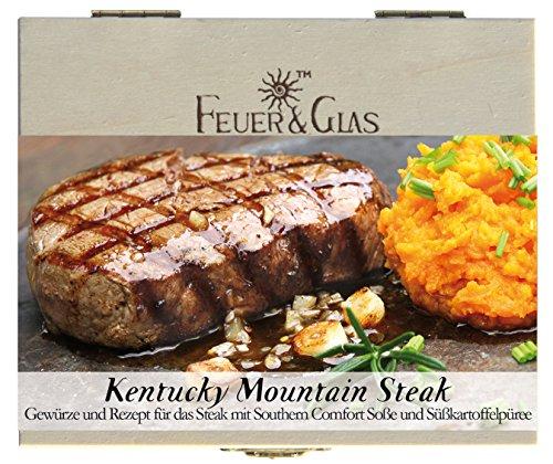 Kentucky Mountain Steak – 8 Gewürze Set für Steak mit Southern-Comfort-Soße (90g) – in einer schönen Holzbox – mit Rezept und Einkaufsliste – Geschenkidee für Männer und Feinschmecker von Feuer & Glas
