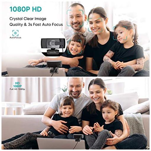 Wansview Webcam 1080p Autofocus con Microfonos de Reducción de Ruido, USB Webcam Plug and Play con Clip Giratorio, Full… 3