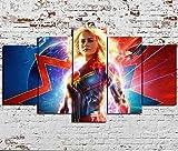 YFTNIPL Impresión 5 Piezas Lienzo Capitán Marvel Vengadores Endgame Casa Sala Oficina Regalo...