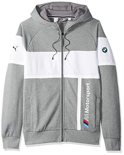 PUMA BMW Motorsport - Chaqueta con capucha para hombre (pequeño, gris)