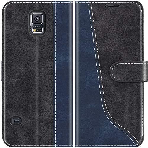 Mulbess Handyhülle für Samsung Galaxy S5 Hülle, Handy Samsung S5 Neo Hülle, Handy Samsung Galaxy S5 Hülle, Leder Flip Etui Handytasche Schutzhülle für Samsung Galaxy S5 Case, Schwarz