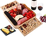 Bamboo Cheese Board and Knife Set, Wood Charcuterie Board with Cutlery in 2 Slide-out Drawer, Removable Slate Cheese Board and 4 Stainless Steel Knife, Gift for Party,Wedding Registry,Housewarming