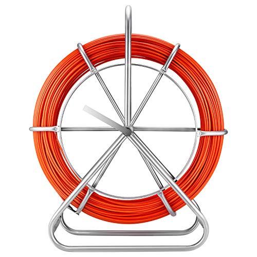 Kabeleinziehhilfe Glasfaser 130m Fischband Fiberglas Kabel Rad 304 Edelstahl Halterung mit Bremse, Dreistufiges Messkabel-Leitungsgerät