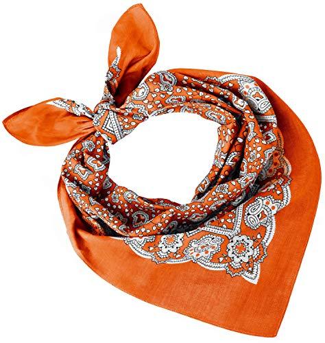 Tobeni 548 Bandana Head- Pañuelos para el Cuello de Tela 100% Algodón Unisex Color Cachemir Naranja Tamaño 54 cm x 54 cm