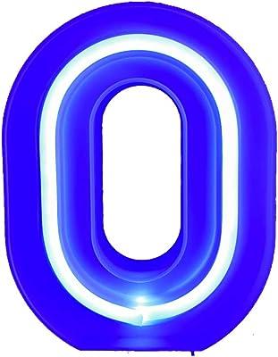 QiaoFei - Segnale luminoso con lettere luminose, colore: blu 0