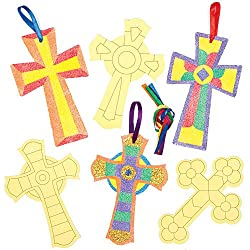 Cross Sand & Glitter Art Hanging Ornaments for Children to Design Make and Display as Easter Christian Decorations