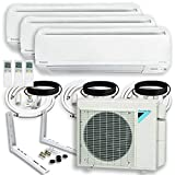 DAIKIN (3 Zone) 4MXS Air Conditioner Heat Pump + Maxwell 15 ft. Installation Kit + Wall Bracket (9000 + 15000 + 24000 BTU)