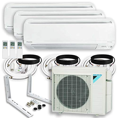 DAIKIN (3 Zone) 4MXS Air Conditioner Heat Pump + Maxwell 15 ft. Installation Kit + Wall Bracket (9000 + 15000 + 24000 BTU)