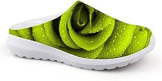 Men's Slippers Mesh Clog Beach Shoes Green Rose Flower Printed Non-Slip Sandals Unisex Adult Flat Shoes Open Back Garden C...