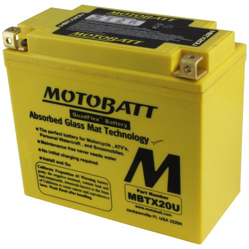 MotoBatt MBTX20U (12V 21 Amp) 280CCA Factory Activated Maintenance Free QuadFlex AGM Battery