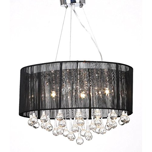 vidaXL Lámpara de Araña con 85 Cristales Pantalla Negra
