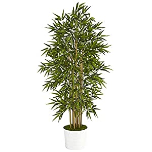 64in. Bamboo Artificial Tree in White Tin Planter