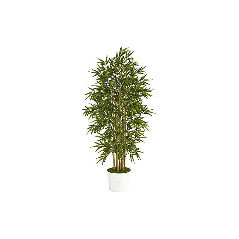silk flower arrangements 64in. bamboo artificial tree in white tin planter