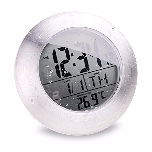 JINHONG Waterproof Digital Bathroom Wall Clock Suction Cup Shower Clock with LCD Display Table Clock