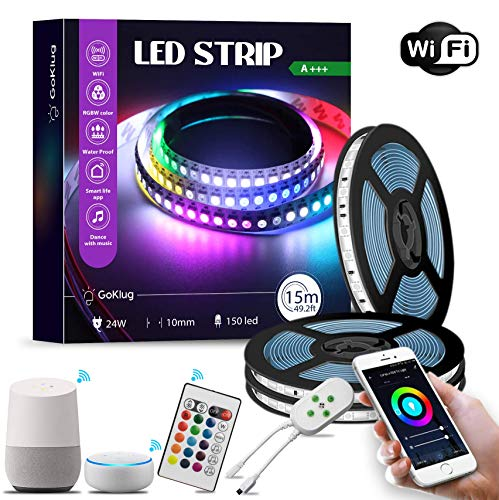 Led Strip 15m Goklug Alexa Led Strip Mit Fernbedienung Lichterkette Zeitschaltuhr, Smart Home Led Strip Wasserdichte Klebeband Bunt Led Strip Musiksteuerung Party Lichterkette, Zimmer Deko, Dimmbar