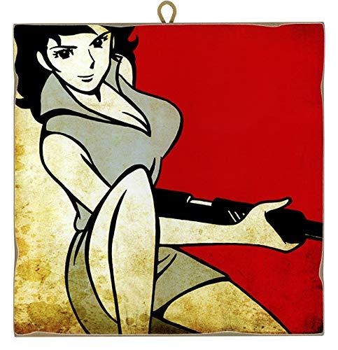 KUSTOM ART Quadro Quadretto Stile Vintage Serie Fumetti Lupin III: Fujiko con Mitra da Collezione Stampa Laser su Legno Alta qualità Made in Italy - Idea Regalo