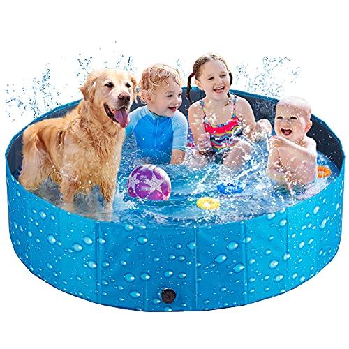 Hundepool für Große & Kleine Hunde 80cm / 120cm / 160cm Schwimmbecken Faltbarer Hund Planschbecken Swimmingpool Kinderpool Hundebadewanne mit PVC-rutschfest Für Hund Katze Kinder